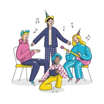Ręcznie rysowane ilustracja grupy ludzi