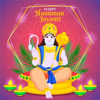 Ręcznie rysowane ilustracja hanuman jayanti