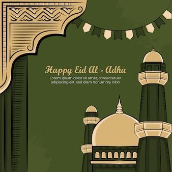 Ręcznie rysowane ilustracja id al-adha lub korban dni powitanie koncepcja na zielonym tle.