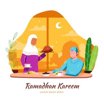 Ręcznie rysowane ilustracja iftar z ludźmi