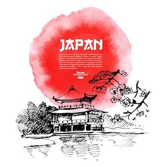 Ręcznie rysowane ilustracja japońskie sushi. szkic i akwarela