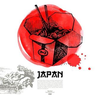 Ręcznie rysowane ilustracja japońskie sushi. szkic i tło menu akwareli
