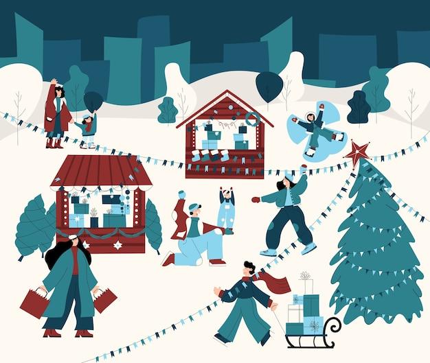 Ręcznie rysowane ilustracja jarmarku bożonarodzeniowego z ludźmi robiącymi zakupy grając w śnieżki z rodziną, zabawy