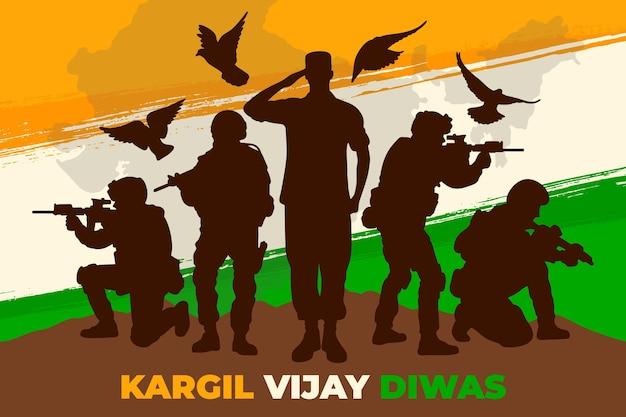 Ręcznie rysowane ilustracja kargil vijay diwas