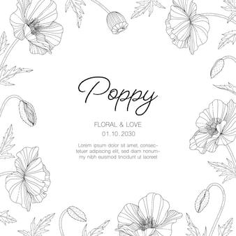 Ręcznie rysowane ilustracja karta kwiatowy maku z grafiką na białym tle.