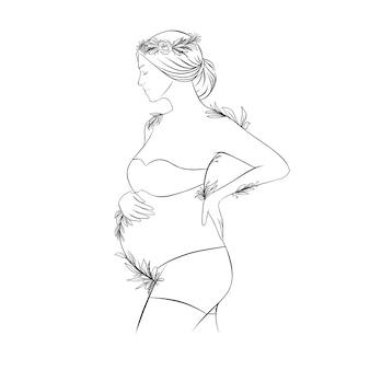 Ręcznie rysowane ilustracja kobieta w ciąży