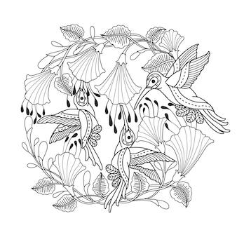 Ręcznie rysowane ilustracja kolibra w zentangle stylu