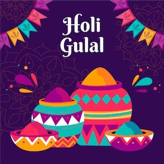 Ręcznie rysowane ilustracja kolorowy holi gulal
