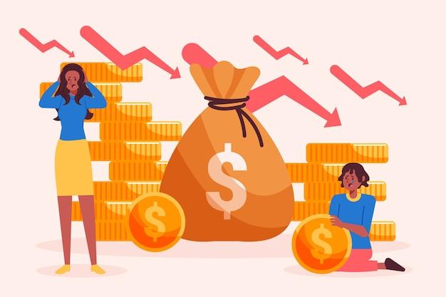 Ręcznie rysowane ilustracja koncepcja bankructwa