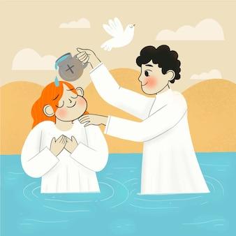 Ręcznie rysowane ilustracja koncepcja chrztu