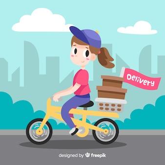 Ręcznie rysowane ilustracja koncepcja dostawy rowerów