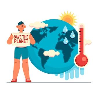 Ręcznie rysowane ilustracja koncepcja płaskiej zmiany klimatu
