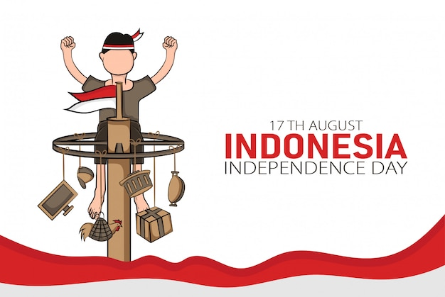 Ręcznie rysowane ilustracja koncepcji karty z pozdrowieniami dzień niepodległości indonezji.