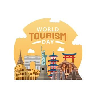 Ręcznie rysowane ilustracja koncepcji światowego dnia turystyki.