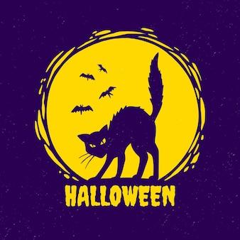Ręcznie rysowane ilustracja kota halloween