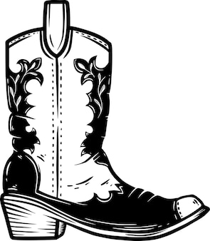Ręcznie rysowane ilustracja kowbojskie buty na białym tle. element projektu plakatu, karty, banera, koszulki, godła, znaku. ilustracja wektorowa