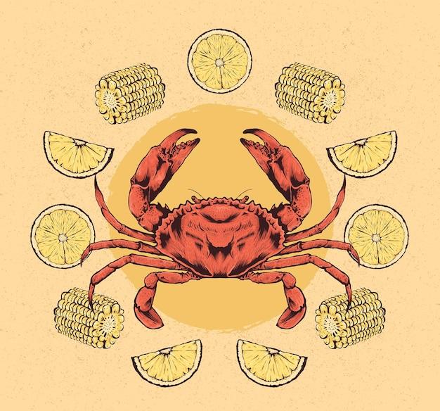 Ręcznie rysowane ilustracja kraba z cytryną i kukurydzą