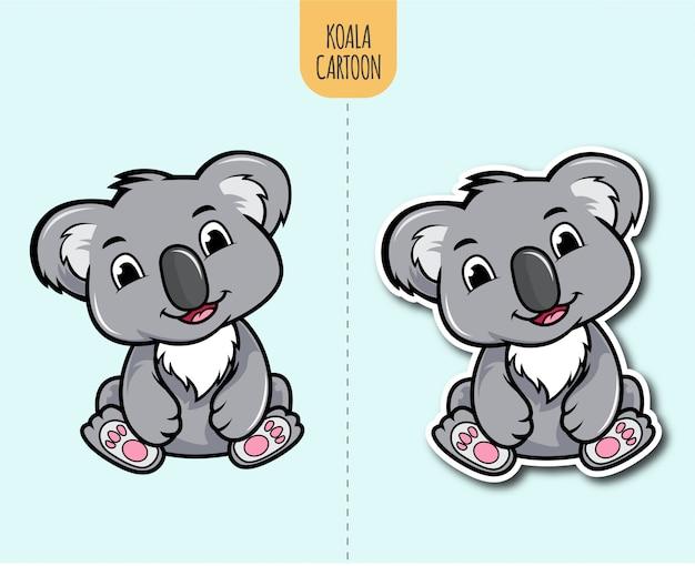 Ręcznie rysowane ilustracja kreskówka koala z opcją projektowania naklejki