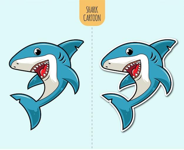 Ręcznie rysowane ilustracja kreskówka rekin z opcją projektowania naklejki