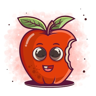 Ręcznie rysowane ilustracja kreskówka słodkie jabłko