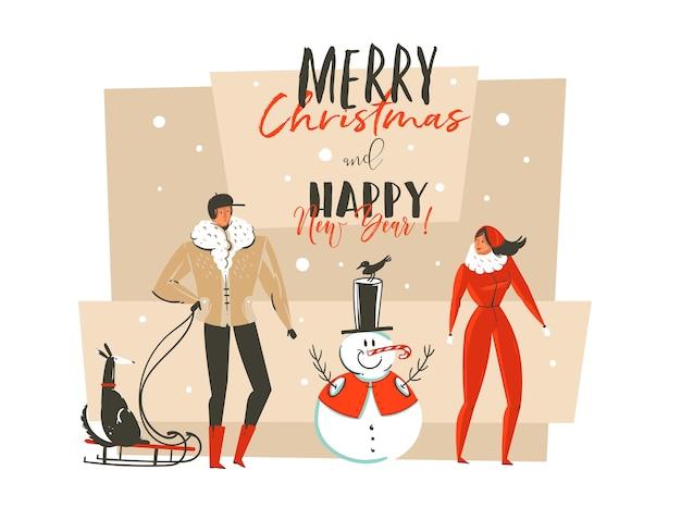 Ręcznie rysowane ilustracja kreskówka streszczenie wesołych świąt i szczęśliwego nowego roku