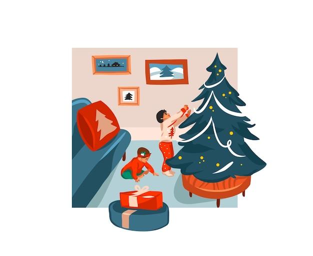 Ręcznie rysowane ilustracja kreskówka uroczysty boże narodzenie dzieci w domu razem na białym tle