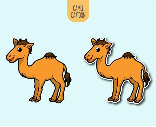 Ręcznie rysowane ilustracja kreskówka wielbłąd z opcją projektowania naklejki