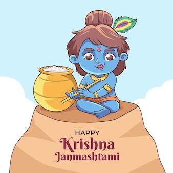 Ręcznie Rysowane Ilustracja Krishna Janmashtami Darmowych Wektorów