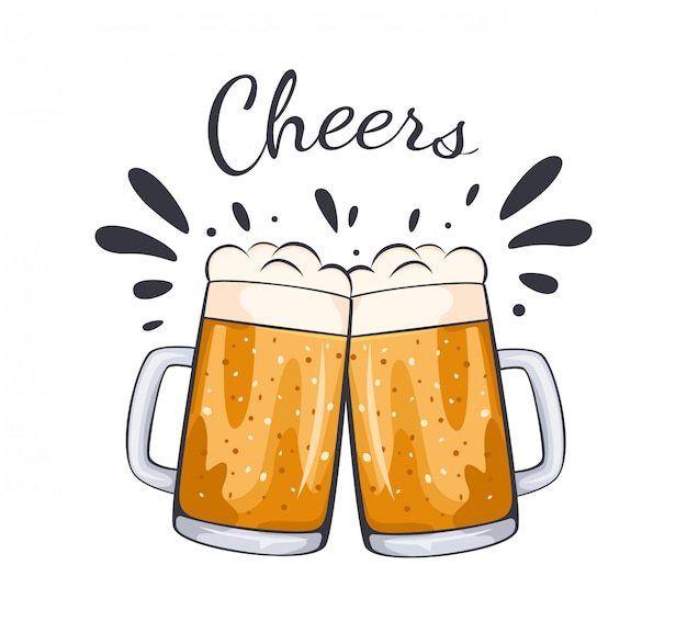 Ręcznie rysowane ilustracja kubek szklanki piwa.