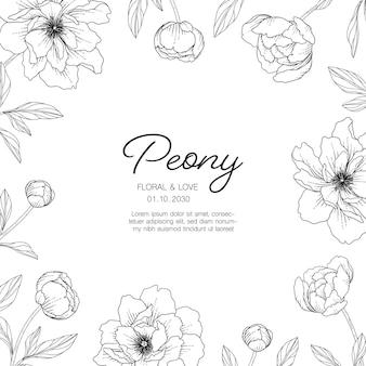 Ręcznie rysowane ilustracja kwiatowy kartkę z życzeniami piwonia z grafiką na białym tle.