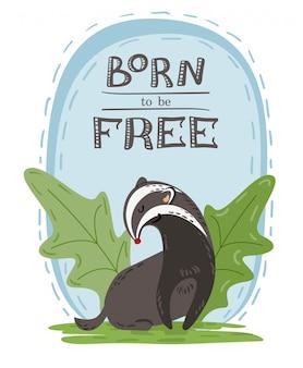 Ręcznie rysowane ilustracja ładny dziki borsuk