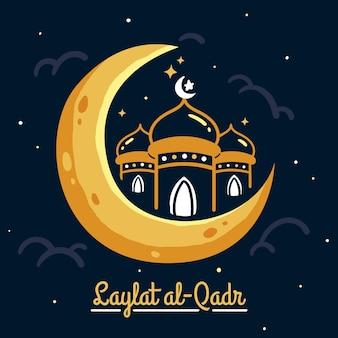 Ręcznie rysowane ilustracja laylat al-qadr
