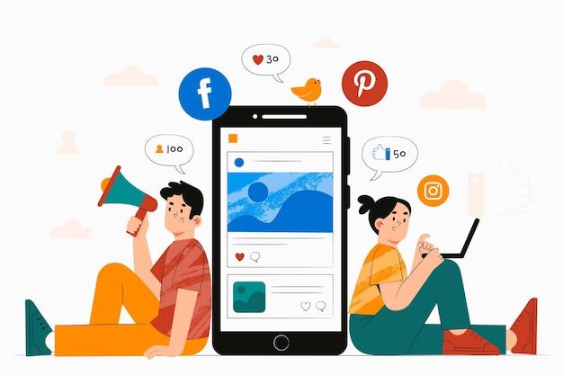 Ręcznie rysowane ilustracja ludzi ze smartfonem do marketingu