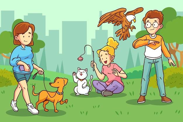 Ręcznie rysowane ilustracja ludzi ze zwierzętami