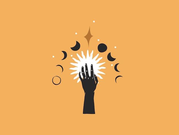 Ręcznie rysowane ilustracja, magiczna grafika liniowa słońca, półksiężyca, fazy księżyca i gwiazd w prostym stylu