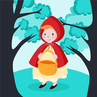 Ręcznie rysowane ilustracja mały czerwony kapturek