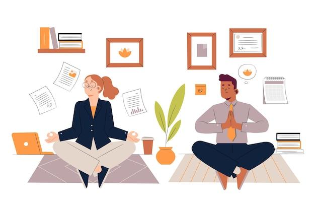 Ręcznie rysowane ilustracja medytujących ludzi biznesu