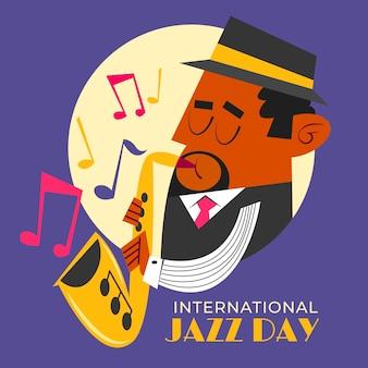 Ręcznie rysowane ilustracja międzynarodowego dnia jazzu
