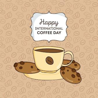 Ręcznie rysowane ilustracja międzynarodowego dnia kawy