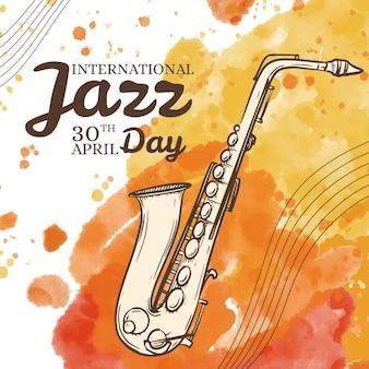 Ręcznie rysowane ilustracja międzynarodowy dzień jazzu