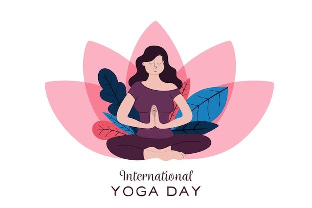 Ręcznie rysowane ilustracja międzynarodowy dzień jogi