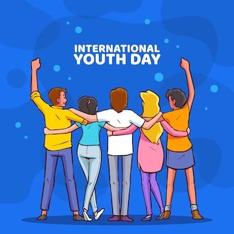 Ręcznie rysowane ilustracja międzynarodowy dzień młodzieży