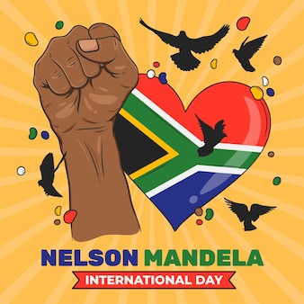 Ręcznie rysowane ilustracja międzynarodowy dzień nelsona mandeli