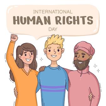 Ręcznie rysowane ilustracja międzynarodowy dzień praw człowieka