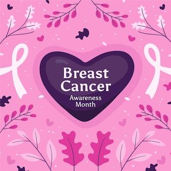 Ręcznie rysowane ilustracja miesiąca świadomości raka piersi