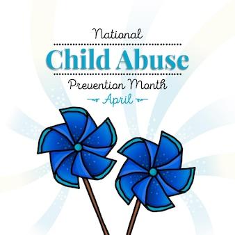 Ręcznie Rysowane Ilustracja Miesiąca Zapobiegania Krzywdzeniu Dzieci Premium Wektorów