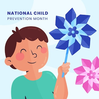 Ręcznie rysowane ilustracja miesiąca zapobiegania krzywdzeniu dzieci