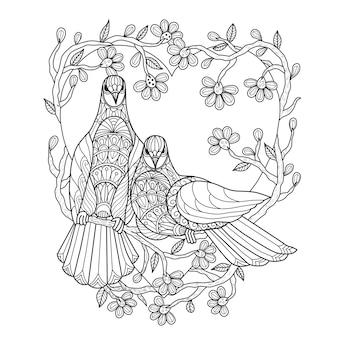 Ręcznie rysowane ilustracja miłośników ptaków.