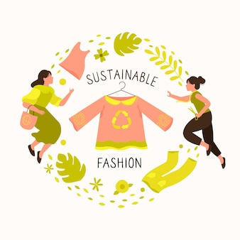 Ręcznie rysowane ilustracja moda zrównoważona