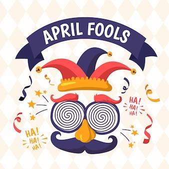 Ręcznie rysowane ilustracja na prima aprilis z śmieszne maski